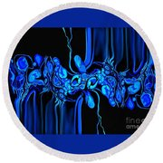 Abstract In Blue 3 Round Beach Towel