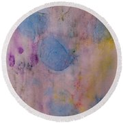 Abstract In Red, Blue, And Yellow Round Beach Towel