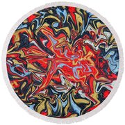 Abstract In Red Round Beach Towel