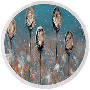 Abstract In Taupe, Chamoisee And Wheat Round Beach Towel
