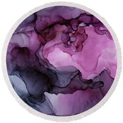 Abstract Ink Painting Plum Pink Ethereal Round Beach Towel