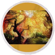Abstract Japanese Maple Tree 2 Round Beach Towel