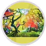 Abstract Japanese Maple Tree 5 Round Beach Towel
