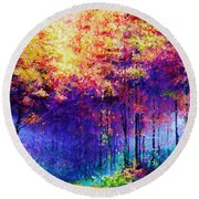 Abstract Landscape 0830a Round Beach Towel