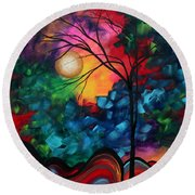 Abstract Landscape Bold Colorful Painting Round Beach Towel by Megan Duncanson