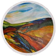 abstract landscape-Haloze Round Beach Towel