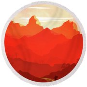 Abstract Landscape Mountain Road Art 5 - By Diana Van Round Beach Towel