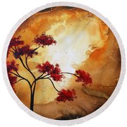 Abstract Landscape Painting Empty Nest 12 By Madart Round Beach Towel by Megan Duncanson