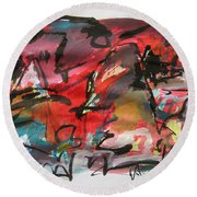 Abstract Landscape Sketch13 Round Beach Towel