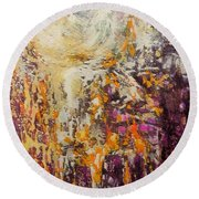 abstract landscape VI Round Beach Towel