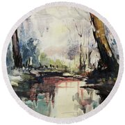 Original Watercolor Painting. Abstract Watercolor Landscape Painting Round Beach Towel