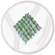 Abstract Line Design In Black And Green Round Beach Towel