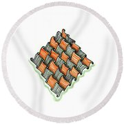 Abstract Line Design In Black And Orange Round Beach Towel