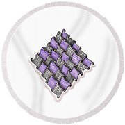 Abstract Line Design In Black And Purple Round Beach Towel