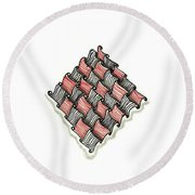 Abstract Line Design In Black And Red Round Beach Towel
