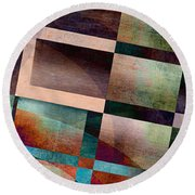 Abstract Lines And Shapes Round Beach Towel