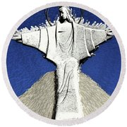 Abstract Lutheran Cross 5a Round Beach Towel