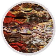 Abstract Magnified Lines Round Beach Towel