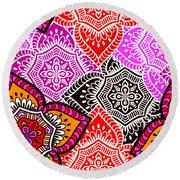 Abstract Mandala Floral Design Round Beach Towel