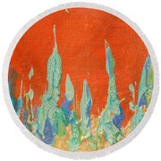 Abstract Mirage Cityscape In Orange Round Beach Towel by Julia Apostolova