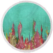 Abstract Mirage Cityscape In Turquoise Round Beach Towel by Julia Apostolova