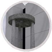 Abstract Modern Architecture And Millstone Sculpture At Scarboro Round Beach Towel