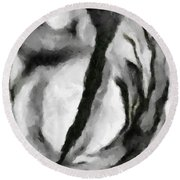 Abstract Monochome 154 Round Beach Towel