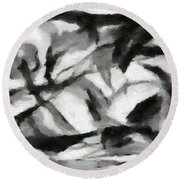 Abstract Monochome 156 Round Beach Towel