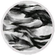 Abstract Monochome 162 Round Beach Towel