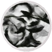 Abstract Monochome 164 Round Beach Towel