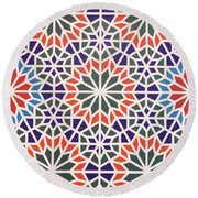 Abstract Moroccon Tiles Colorful Round Beach Towel