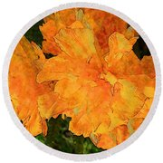 Abstract Motif By Yellow Daffodils Round Beach Towel
