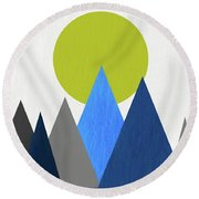 Abstract Mountains And Sun Round Beach Towel