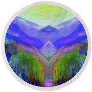 Abstract Mountains By Nixo Round Beach Towel