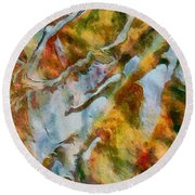 abstract mountains I Round Beach Towel
