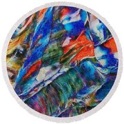 abstract mountains II Round Beach Towel