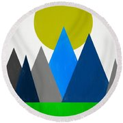 Abstract Mountains Landscape Round Beach Towel