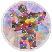 Abstract Musican Guitarist Round Beach Towel
