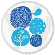Abstract Nature Blue Round Beach Towel