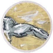 Abstract Nude Round Beach Towel