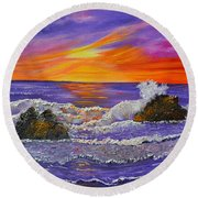 Abstract Ocean- Oil Painting- Puple Mist- Seascape Painting Round Beach Towel