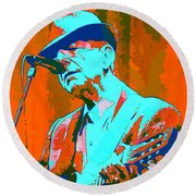 Abstract Of Leonard Cohen Round Beach Towel