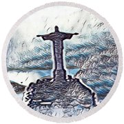 Abstract Of Our Saviour  Round Beach Towel
