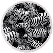 Abstract Of Zebras Statue In Various Sizes  Round Beach Towel