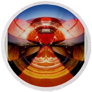 Abstract Old Car Spare Tire Round Beach Towel