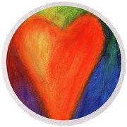 Abstract Orange Heart 1 Round Beach Towel