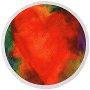 Abstract Orange Heart 2 Round Beach Towel