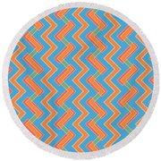 Abstract Orange, Red And Cyan Pattern For Home Decoration Round Beach Towel