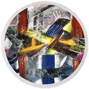 Abstract Painting Round Beach Towel by Robert Thalmeier