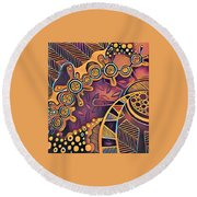 Abstract Pattern With Purple Round Beach Towel
